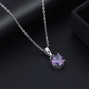 S925 February (amethyst) birthstone necklace